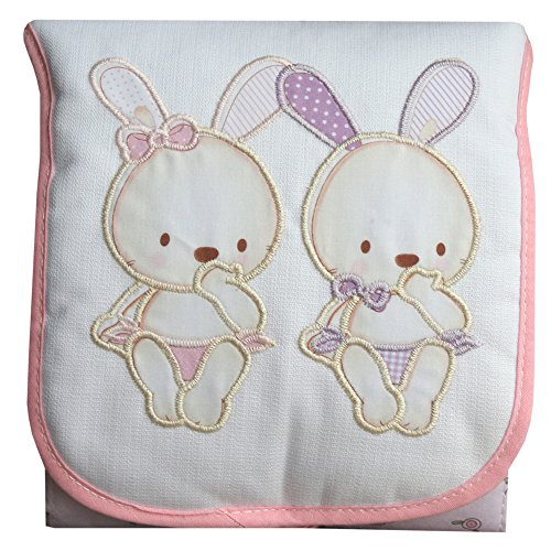 Cambiador de Bebé Portátil e Impermeable Conejitos Rosa