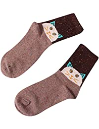 ☺HWTOP Sportsocken Weihnachten Unisex Hohe Socken Blickdicht Sneaker Socken Damen & Herren & Jungen & Mädchensocken Cartoon Tier Wolle Socken Premium Fußball Socken Baumwolle 1 Paar