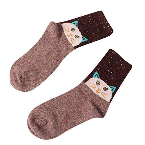 (YEARNLY Winter Warm Cartoon Tier Wolle Socken Weihnachten Weihnachtsgeschenk Mode Weihnachten Cartoon Tier Serie Idee Garn weibliche Wollsocken)
