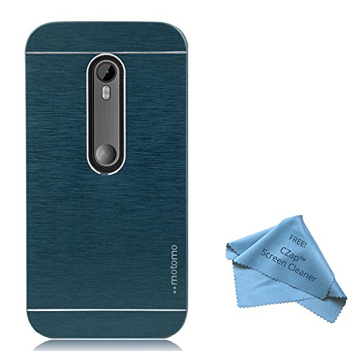 CZap Motomo Full Metal Protective Hard Back Case Cover for Motorola Moto G 3rd Gen - Blue