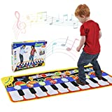 Renfox Piano Mat, Musical Dance Mat Tough Play Keyboard Mat for Kids, 5 Modes & 8 Sounds, Baby Early Education musical keyboard, Portable Colorful Music toy Baby Toy Gift (110 * 36cm)