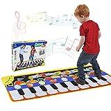 Renfox Piano Matte, Tanzmatten Klaviermatte Musikmatte Kinder, 5 Modi & 8 Instrumente Sounds Spielzeug Musik Matte, Keyboard Matten Spielteppich Baby Tanzmatte für Kinder (110 * 36cm)