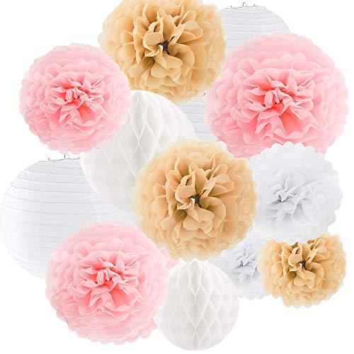 BAKHK 14er Hochzeit Deko Sets Weiß Rosa Champagne Papier Pompom,Weiße Papierlaternen und Weiße Wabenball Sets,Blumen Pompoms,Seidenpapier Pompoms für Partydekoration Hochzeitsdeko