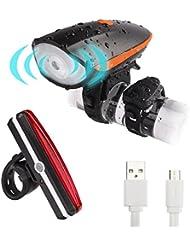YaFex LED Fahrrad Lichter Set USB Wiederaufladbare Fahrradbeleuchtung 3-6 Licht-Modi Wasserdicht Außen Fahrradlampe mit Fahrradklingel 120 dB