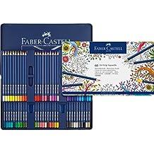 Faber-Castell 114260 - Estuche de metal con 60 ecolápices triangulares acuarelables Art Grip, lápices para adultos