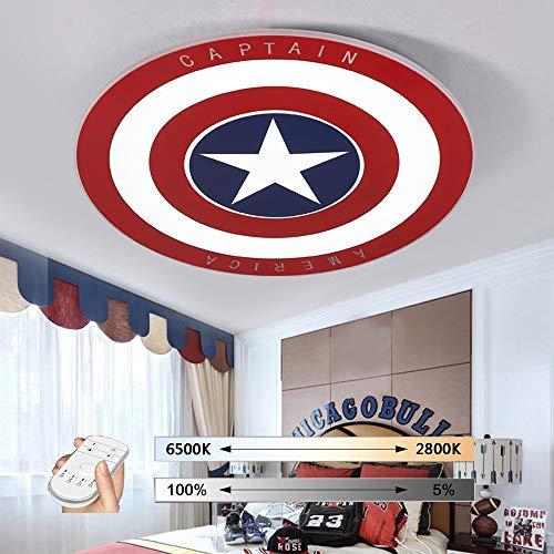 HIL Luz De Techo, Control Remoto Regulable LED para Habitaciones De Niños, Lámpara Capitán América Lámpara De Techo Redonda De Metal 29W / 36W / 45W Iluminación De Dormitorio Infantil,62CM/45W