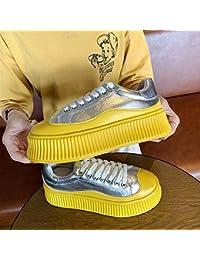 Zapatos de mujer de suela gruesa con el mismo párrafo bajo para ayudar a los deportes casuales para mujer (color: amarillo)
