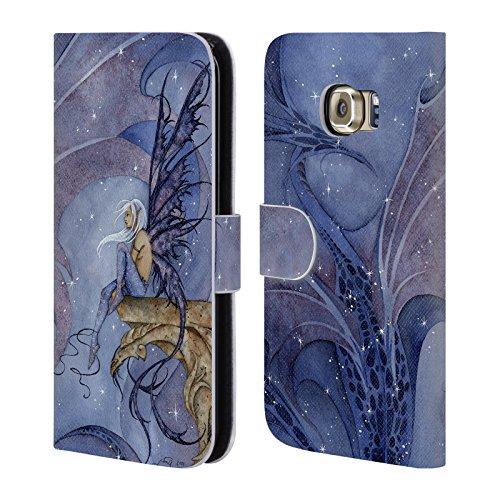 Head Case Designs Offizielle Amy Brown Drachen Traum Legenden Brieftasche Handyhülle aus Leder für Samsung Galaxy S6 Edge