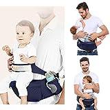 Viedouce Hipseat Marsupio con protezione per cintura di sicurezza,Puro Cotone Leggero e Traspirante,Ergonomico Neonati Marsupio Sicurezza Supporto per Bambino da 3-48 Mesi (Blu Scuro)