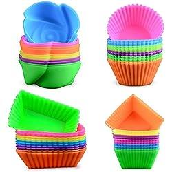 WENTS 24 Pezzi Pirottini Cupcake in Silicone Riutilizzabile Antiaderente Silicone Tazze per Facile da riporre/Silicone Alimentare/Senza BPA/Lavabili in lavastoviglie