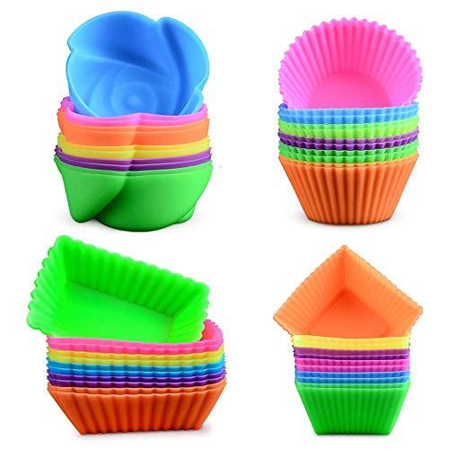 Moule à Muffin - WENTS 24 pièces Silicone Moule Muffin Cup Cake Baking Cupcake Moules de Cuisson Réutilisables