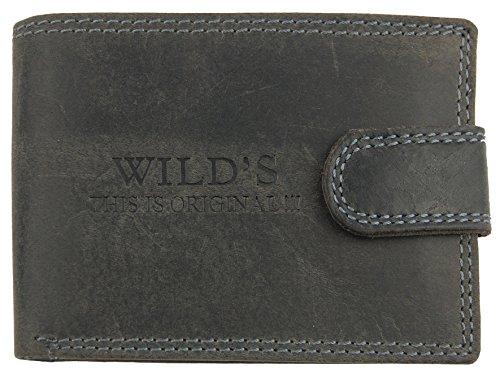 M99 Lederbörse mit Riegel WILD'S (W02L) schwarz braun, Doppelnaht, Geldbörse, Herrengeldbörse, Echt Leder, Kleinlederwaren