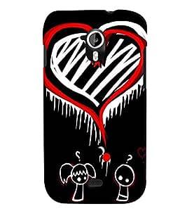 Fuson Orange White Heart Pattern Back Case Cover for MICROMAX A116 CANVAS HD - D3789