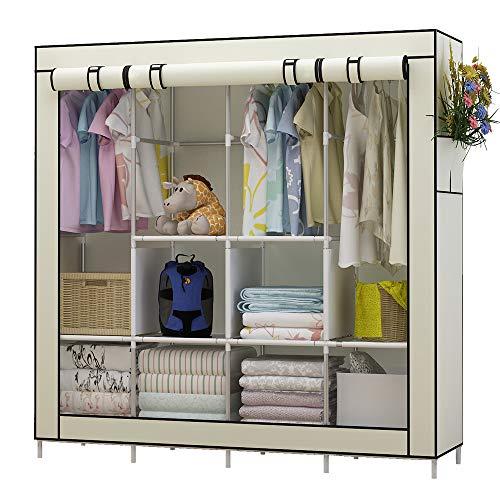 Udear armadio richiudibile cabina salvaspazio guardaroba non tessuto appendiabiti in tessuto con cerniera (beige)
