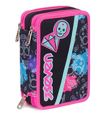 Astuccio 3 zip seven , watercolor , nero rosa , con contenuto: matite, pennarelli ...