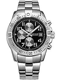 Para hombre Megir cronógrafo acero inoxidable relojes de cuarzo