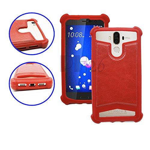 Yezz Andy 5EI2 Coque arrière façon cuir rouge contours en silicone gel anti-chocs by PH26®