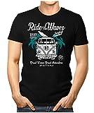 PRILANO Herren Fun T-Shirt - RIDE-THE-WAVES-BULLI - XL - Schwarz