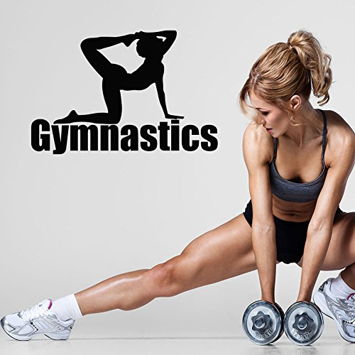 Vinyl Wandtattoo Fitness Eignung Symbol Gymnastik Pilates Sportclub Bodybuilder Zentrum Gym Dekoration für Fitnessstudio Logo Fitness Studio Wandaufkleber Wandsticker Wanddekoration Fototapete A495 (Fitness-studio-wand-kunst)