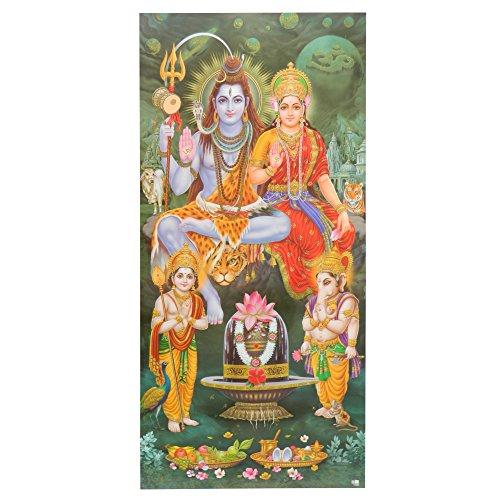 Bild Shiva & Parvati mit Ganesha & Kartikeya 100 x 50 cm Kunstdruck Plakat Poster Indien Hinduismus Hochglanz Dekoration - Ganesha-bild