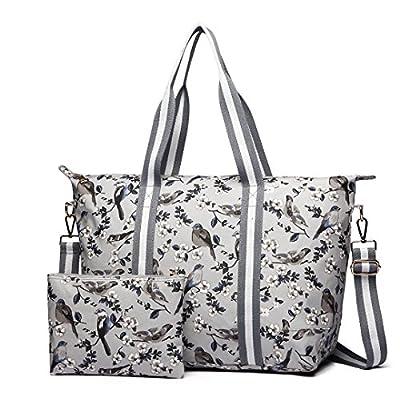 Miss Lulu 2 Pieces Set Women Bird Flower Matte Oilcloth Foldaway Overnight Bag Large Light Weight Shoulder Handbag