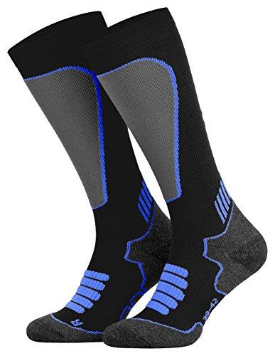 Tobeni Sport Kompressionsstrümpfe Biking- Running- Skiing- Socken für Frauen und Männer Farbe Schwarz-Royal Grösse 35-38
