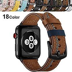 Chok Idea Compatible with Apple Watch Bracelet 42mm 44mm,Trendy Véritable Bande de Cuir avec en Sécurité Métallique Boucle Band Rremplacement for iWatch Apple Watch Series 4 3/2/1,Brown