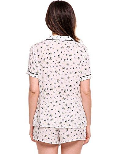 EKOUAER Damen Baumwolle Pyjama Set Shorty mit Shorts Kurz Schlafanzug Nachtwäsche Nachthemd Floral Gemusterte Design weißes marineblau