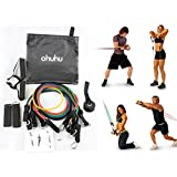 Ohuhu® Resistance Band Set, Resistance Bands Fitness Kit With 5 High-quality Stretch Tubes, Door Anchor, Ankle...