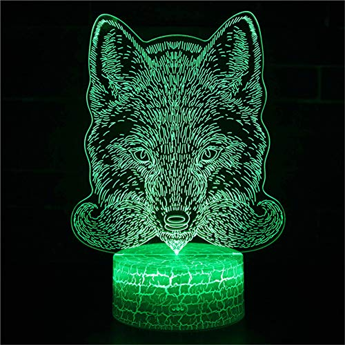 3D Illusione Ottica Led Lampada di Illuminazione Luce Notturna 7 Colori con Acrilico USB Batteria Notturna Touch Control Crack Base Wolf Head Controllo Remoto