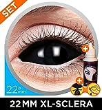 Black Sclera XL Kontaktlinsen Set 22mm Schwarz - inkl. 50ml Kombilösung + Sclera-Aufbewahrungsbox - Top-Qualität - perfekt für Halloween Horror, Fasching, Karneval & Co. - PARTYMARTY GMBH