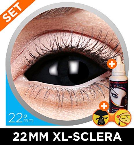 Black Sclera XL Kontaktlinsen Set 22mm Schwarz - inkl. 50ml Kombilösung + Sclera-Aufbewahrungsbox - Top-Qualität - perfekt für Halloween Horror, Fasching, Karneval & Co. - PARTYMARTY GMBH®