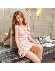 XW-atxsCamisón de encaje femenino pijama tirantes falda traje Home Furnishing extrema ,XL,Puesta de sol en polvo