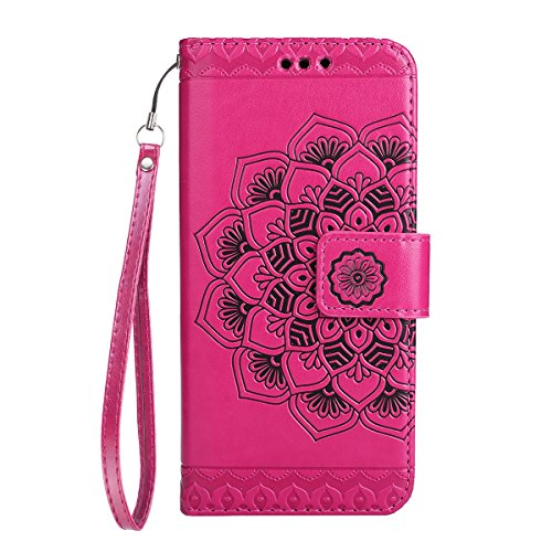 iPhone 8 Hülle,iPhone 7 Hülle,iPhone 7 Lederhülle,iPhone 7 Ledertasche Brieftasche,JAWSEU Schön Prägung Henna Mandala Blume Muster Lanyard/Strap Pu Leder Flip Wallet Cover im Book Style Magnetverschlu Blume,Rosa