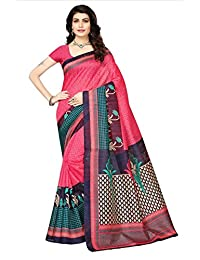 Oomph! Women's Polycotton Printed Sarees - Salmon & Slate Grey