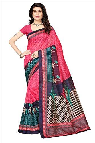 Fabwomen Cotton Silk Saree With Blouse Piece (_Pink_Free Size)