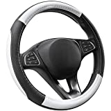 Cofit Microfiber Leather Steering Wheel Cover Universal Size 37-38cm White and Black