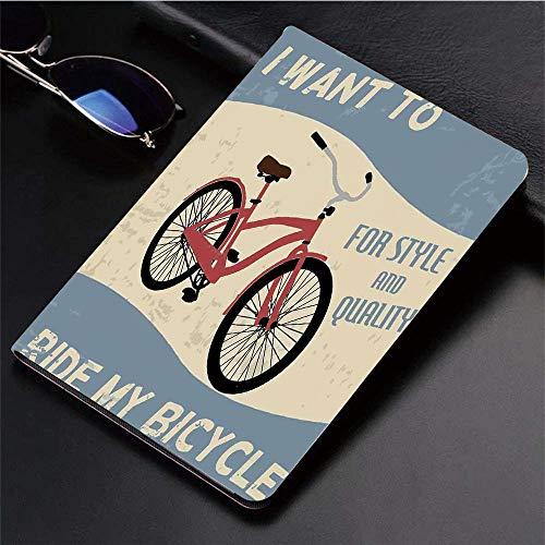 Yaoni Hülle für iPad (9,7 Zoll, Modell 2018/2017, 6. / 5. Generation),1960er Jahre Dekor, ich möchte Mein Fahrrad für,Ultra Slim Cover Schutzhülle PU Lederhülle/mit Auto Sleep Wake Up Funktion (Zubehör In Den 1960er Jahren)