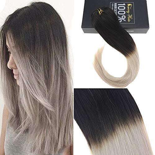 Sunny ombre nero naturale al grey remy extensions capelli veri clip in 24