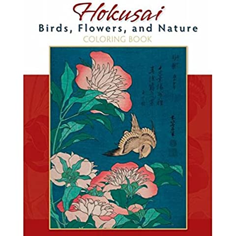 Hokusai libro para colorear de pájaros y flores