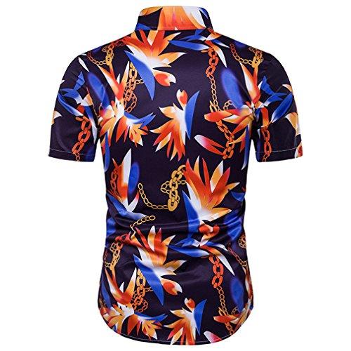 Honghu Herren Sommer 3D-Druck-Ketten kurze Ärmel Hemd Hawaii Strand Shirt Rot