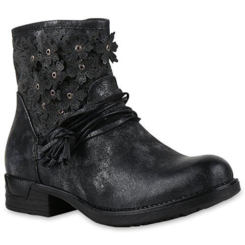 Biker Boots Damen Metallic Stiefeletten Blumen Vintage Look Schuhe 133085 Schwarz 39 | Flandell®