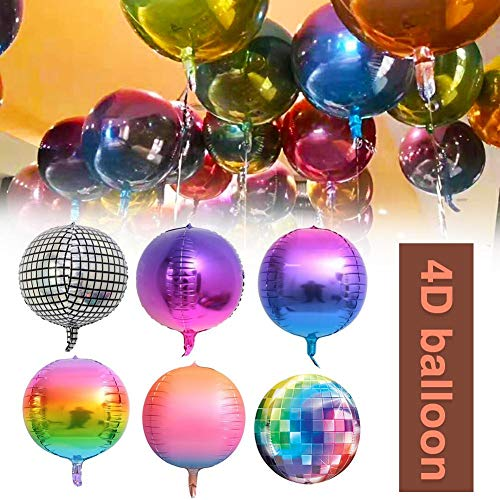 20 PCS 4D Rainbow Balloon Gradient Disco Foil Retro Balloons.