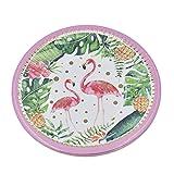 Hongma 10pcs Piatti Fenicottero Flamingo Piastra Rotonda Usa e Getta in Carta per Tavola Decorazione Festa di Compleanno Party