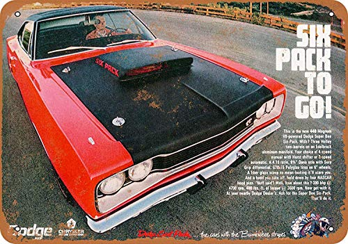 OURTrade 8 x 12 Tin Metal Sign - Vintage Look 1969 Dodge Super Bee 440 6 Pack 1969 Super Bee Six Pack