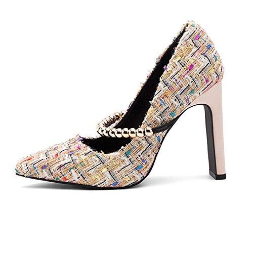 Dimaol Zapatos Mujer Tela Cadono Spring Pump Base Tacones Chunky Heel Pointed Toe Para Fiesta Y Vestido De Noche Black Almond Almond