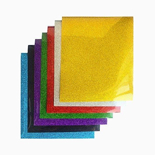 Teckwrap Glitzer Wärmeübertragung Vinyl Blatt HTV für Eisen auf Transferpresse T-Shirts, Kleidungsstücke 30cm x 25cm 7 verschiedene Farben