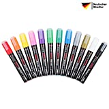 Giance Acrylstifte in 12 Farben Acrylmarker | permanent, wasserfest, UV-resistent | für Holz, Keramik, Metall Stoff, Glas, Stein und Papier | DIY Kunst