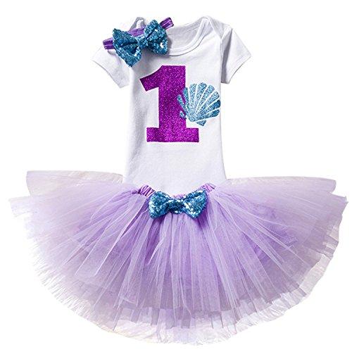 rn 1. Geburtstag 3 Stück Outfits Strampler + Tutu Kleid + Stirnband Größe (1) 1 Jahr Lila (Lila Tutus Für Kleinkinder)