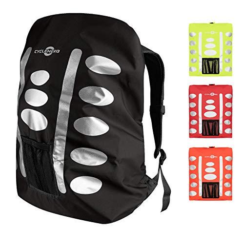 Regenschutz Rucksack (schwarz, 40-55L) Rucksack Überzug mit reflektierenden Elementen und Extra-Tasche - Wasserdichtes Regen Cover für viele Rucksack Größen (40L, 50L) Rucksackschutz Fahrrad Tasche